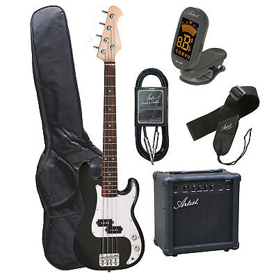 Artist MiniP 3/4 Size PB Style Electric Bass Guitar with Amp + Accessories - New