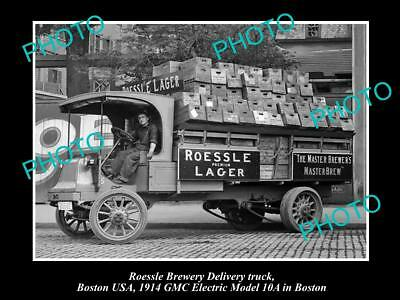 OLD LARGE HISTORIC PHOTO OF ROESSLE BREWERY DELIVERY TRUCK, BOSTON USA c1914 2
