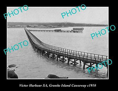 OLD LARGE HISTORIC PHOTO OF THE VICTOR HARBOUR CAUSEWAY TO GRANITE ISLAND c1910