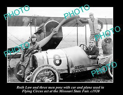 LARGE HISTORIC PHOTO OF AVIATION PIONEER RUTH LAW, MISSOURI FLYING CIRCUS c1920s