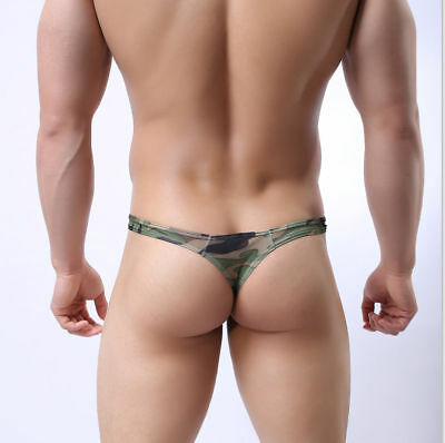 Sexy Men's Fashion Camo Low-rise Thong T Back Briefs G-string Underwear Hot Sale