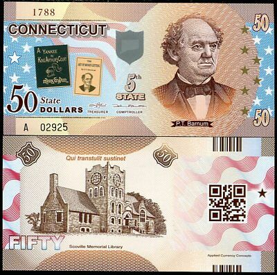 United State Usa. Connecticut 50 Dollars Nd 2014 5Th Polymer Comm.