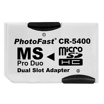 Dual Micro SD TF to Memory Stick MS Pro Duo PSP Card 2 Slot Adapter CR-5400 SS