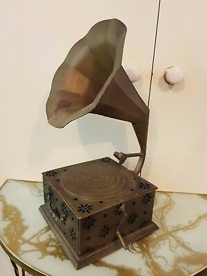 Old Brass/tin Gramophone Ornament - set the Tone!!  Has a handy drawer...