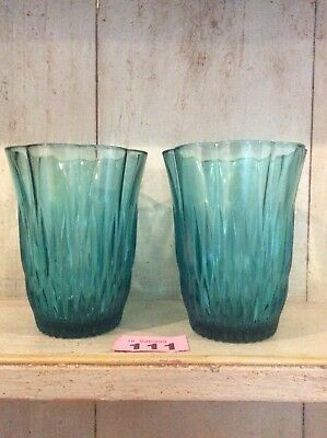 Pair Of Vintage Pressed Glass Turquoise Teal Vases