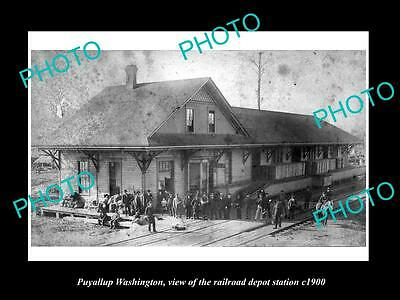 OLD LARGE HISTORIC PHOTO OF PUYALLUP WASHINGTON, THE RAILROAD DEPOT c1900