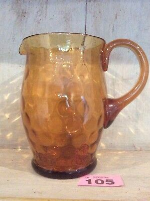 Vintage Amber Glass Water Jug Lovely Design And Good Condition Hand Blown