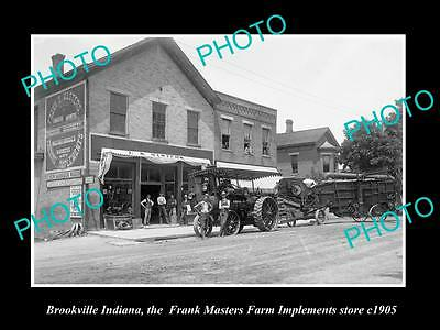 OLD LARGE HISTORIC PHOTO OF BROOKVILLE INDIANA, THE MASTERS FARMING STORE c1905
