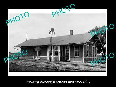 OLD LARGE HISTORIC PHOTO OF WASCO ILLINOIS, THE RAILROAD DEPOT STATION c1940