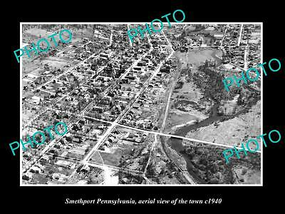 OLD LARGE HISTORIC PHOTO OF SMETHPORT PENNSYLVANIA, AERIAL VIEW OF TOWN c1940