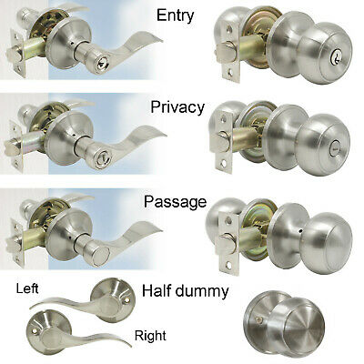 Door Handle Passage Privacy Door Handle Lever Dummy Entrance Knob Brushed Nickel