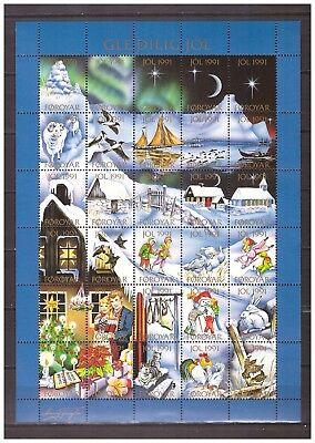s19925) FAROE  Isl. MNH** 1991 Christmas seals Full Sheet