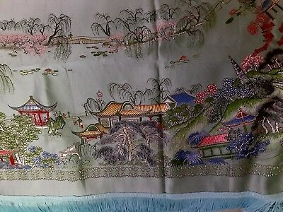 Antique Asian Blue Multi Colorful Pagoda Trees Silk 89x60 Spread Or Tablecloth