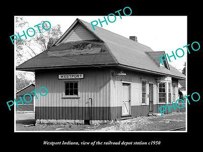OLD LARGE HISTORIC PHOTO OF WESTPORT INDIANA, THE RAILROAD DEPOT STATION c1950