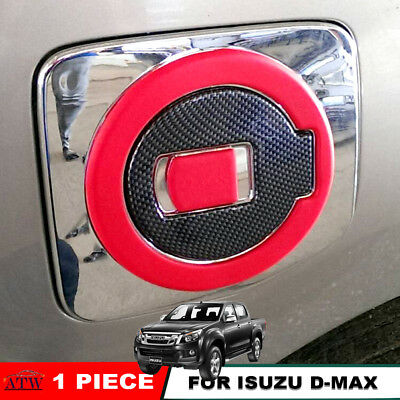 Fit 12+ Isuzu D-Max Dmax Holden Rodeo Red-Carbon Fuel Cap Oil Tank Chrome Cover