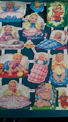 VINTAGE STYLE DIE CUT  PAPER SCRAPS NEW. COLOURFUL BABIES b