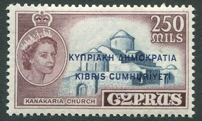 CYPRUS-1960-61 250m Deep Grey-Blue & Brown Sg 200 MOUNTED MINT V20752