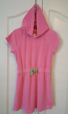 HANNA ANDERSSON Beach Cover Up Swim Hoodie Dress Terry Sz 120 6-8Y Pink