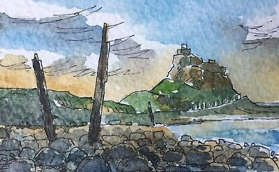 Lindisfarne Castle Northumberland Original Art Painting ACEO card  watercolour