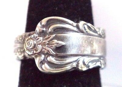 Stunning Vintage Estate Signed 1881 Rogers Spoon Silver Tone Sz 5 Ring!! 9230X