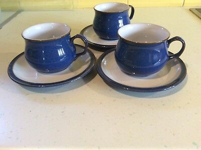 denby imperial blue tea cup and saucers x 3 immaculate condition