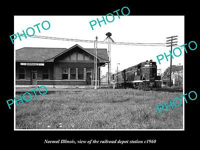 OLD LARGE HISTORIC PHOTO OF NORMAL ILLINOIS, THE RAILROAD DEPOT STATION c1960