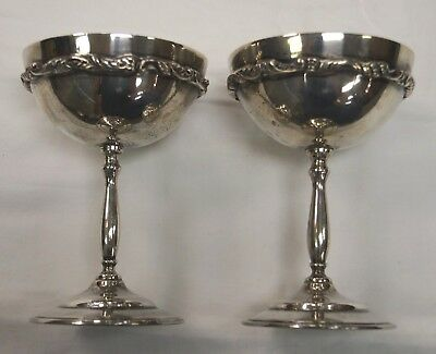 "Vintage 5"" Sterling Silver Hecho en Mexico Water, Wine, Ice Cream Goblets"