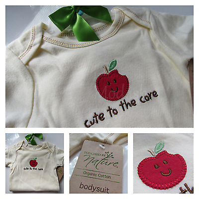 Hudson Baby Girl Touched by Nature Organic Apple Bodysuit One-Piece 9-12M