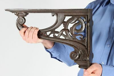 Pair of Large Celtic Style Heavy Duty Wall and Shelf Brackets Cast Iron Bracket