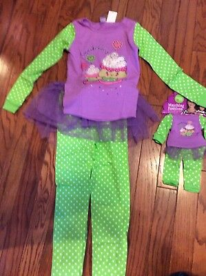 Dollie And Me Girls Pajamas with Tutu w/Matching Doll Outfit Size 14 NWT