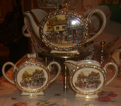 Vintage Sadler Teapot set barrel Coach & Horses ~ Jug & sugar bowl