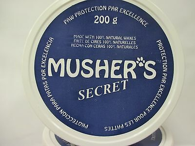 Mushers Secret Dog Paw Protection 100% Natural Waxes 200 Gram Size Brand New