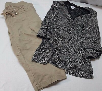 LOT of 2 Motherhood Maternity crop pants size L shirt size 1x Tan and Black top