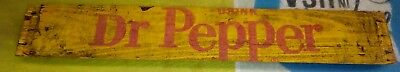 Vintage 1970's Yellow Wooden Crate Dr. Pepper Sign Piece