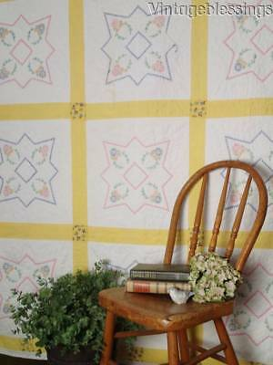 "Sweet Vintage 30s Cottage Embroidered Cheerful Yellow QUILT 77"" x 65"""
