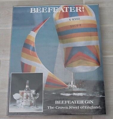Vintage Beefeater Gin The Crown Jewel Of England Framed Poster With Sailboat