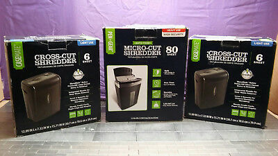 PEN GEAR 80 Sheet Micro Cut Auto-Feed Shredder & Two 6-Sheet Crosscut Shredders