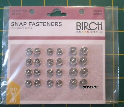 BIRCH  Snap Fasteners Press Studs Assorted Sizes 24 Pack Silver Sew On FREE SHIP