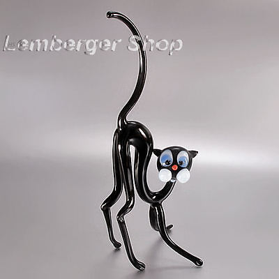 Glass figurine cat made of colored glass. Height 20 cm / 8 inch!