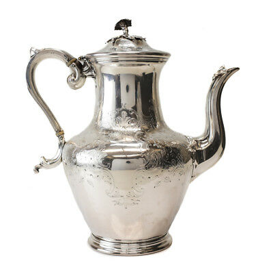 Antique English Silverplate Teapot, 19th Century. Hand Chased Florals