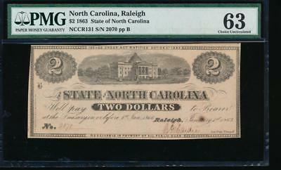 AC State of North Carolina, Raleigh 1863 $2 PMG 63 comment Cr NC-131