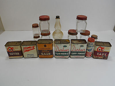 Vintage Spice Tin And Jar Lot Durkees Red Owl Ann Page French's See Pics