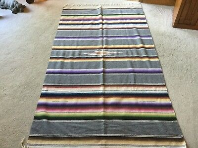 Vintage Southwestern Serape Mexican Blanket Rug Throw Earth tone, 45 x 80""
