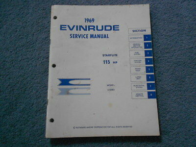 1969 Evinrude 115 Hp Starflite Outboard Motor Service Factory Repair Manual Oem