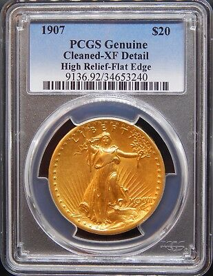 1907 $20 High Relief Flat Rim XF Details Cleaning PCGS