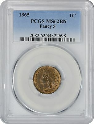 1865 Indian Fancy 5 Cent MS62 BRN PCGS Mint State Brown