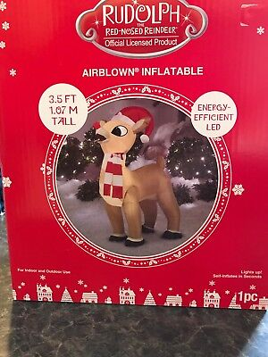 New LED Rudolph the Red Nosed Reindeer Airblown Inflatables 3 1/2' Tall