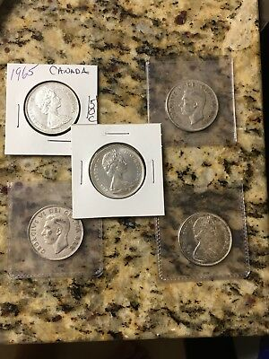 Lot of 4 Canada Silver 50 Cents Half Dollars 1951(2), 1965(2) 80% Silver Coins