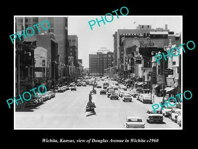OLD LARGE HISTORIC PHOTO OF WICHITA KANSAS, VIEW OF DOUGLAS AVENUE c1960