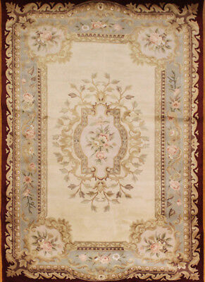 French Savonnerie Aubusson Area Rug Wool And Silk 3 X 5 Thick Pile Art